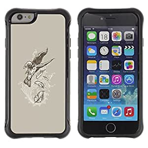 Suave TPU GEL Carcasa Funda Silicona Blando Estuche Caso de protección (para) Apple Iphone 6 PLUS 5.5 / CECELL Phone case / / Flying Crow Raven Skeleton Goth /