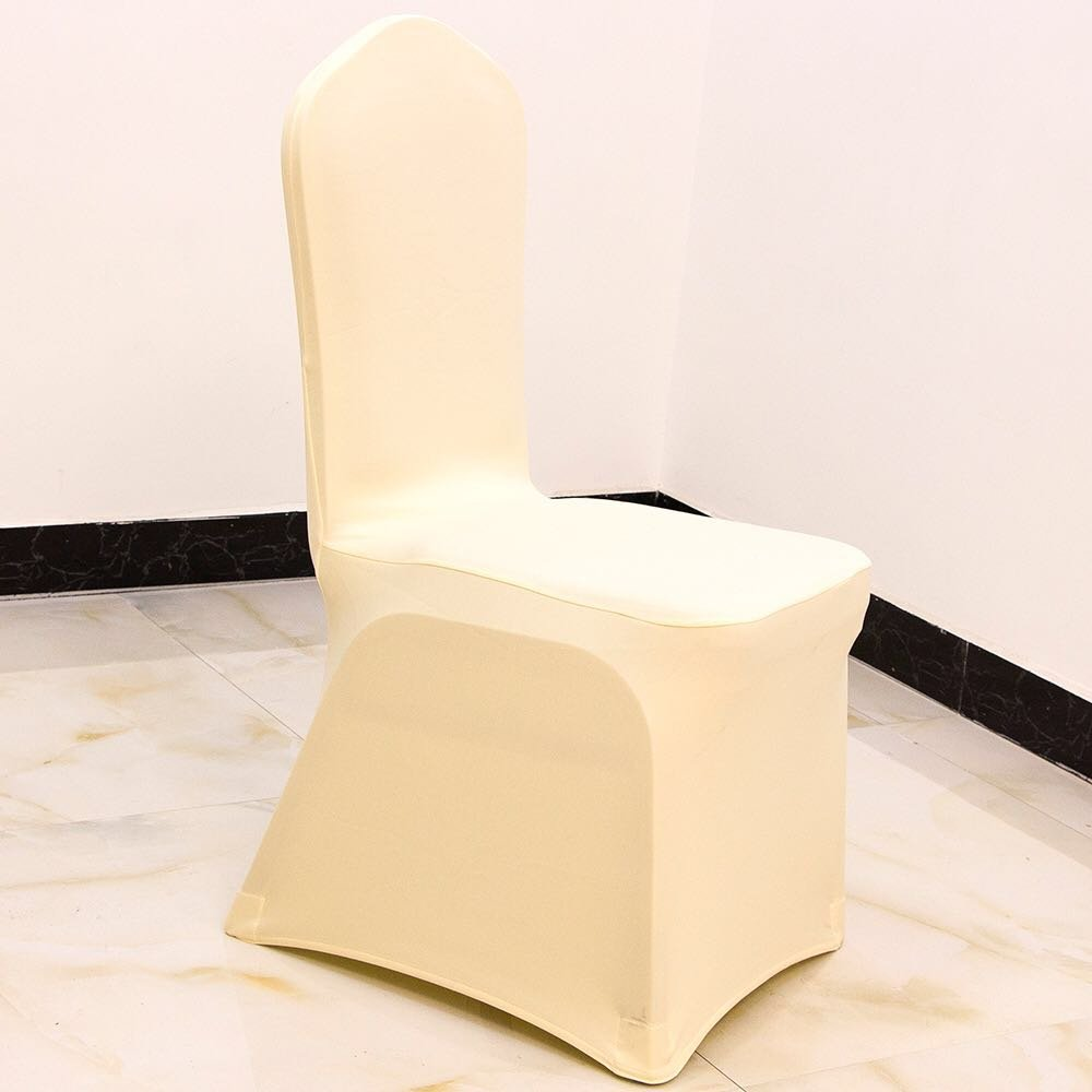 GFCC Set of 50pcs Ivory Color Spandex Chair Covers for Wedding,Party,Banquet,Christmas