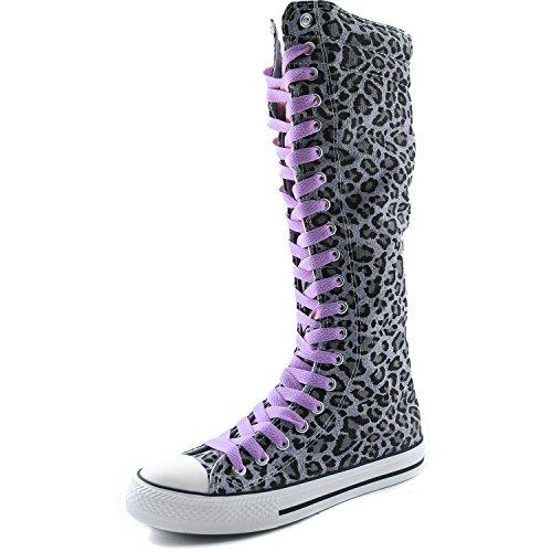 Dailyshoes Tela Donna Stivali Alti Metà Polpaccio Casual Sneaker Punk Flat, Stivali Leopardati Color Lavanda, Pizzo Lavanda