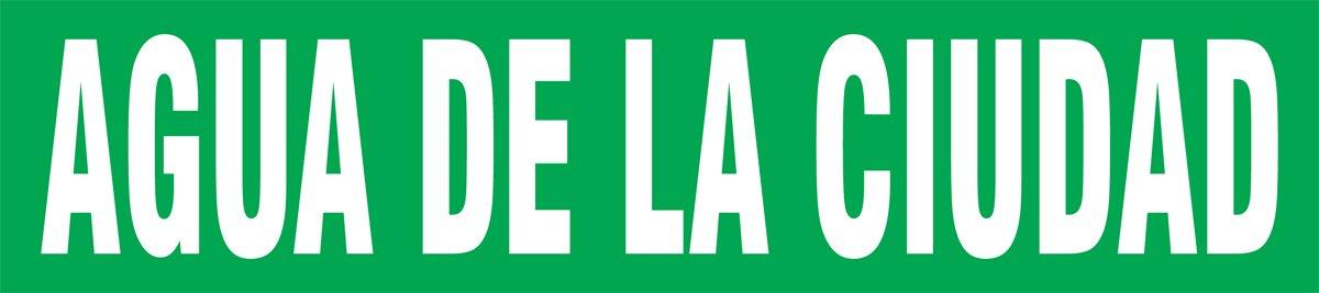 White on Green 2-1//2 H x 12 W Accuform SHRPK215SSD Self-StickAGUA DE LA Ciudad Pipe Marker for 2-1//2 to 6 OD Pipe