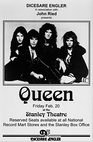 Queen A Night at the Opera Retro Art Print - Poster Size - Print of Retro Concert Poster - Features Freddy Mercury, Brian May, Roger Taylor and John Deacon.