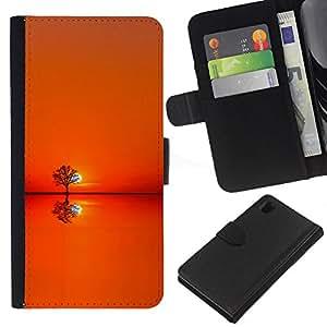 All Phone Most Case / Oferta Especial Cáscara Funda de cuero Monedero Cubierta de proteccion Caso / Wallet Case for Sony Xperia Z1 L39 // Sunset Orange Tree Horizon