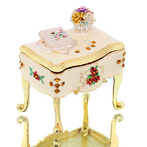 Ear Dish - YUFENG Miniature Dresser Jeweled Trinket Box Hand-painted Patterns Ring Holder Earring Dish Jewelry Box with Crystal (dresser)