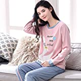 Junson Sleepsuits Women's Cotton Long-Sleeved Pajamas Spring and Autumn Fashion Pink Home Service Suits (Size : L) for You (Size : Medium)