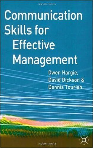 Communication Skills for Effective Management by Owen Hargie (2004-04-03)