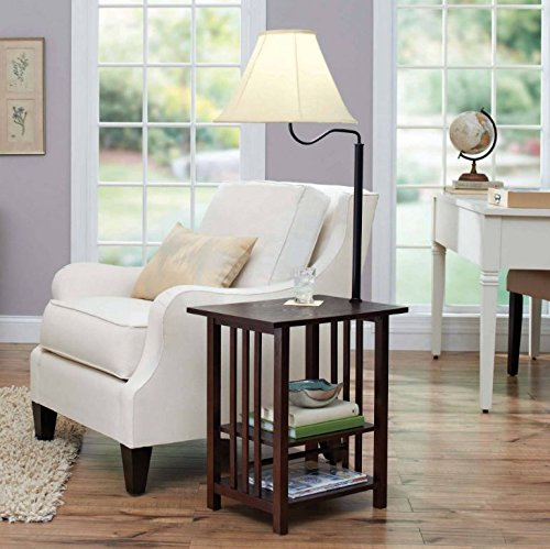Combination Floor Lamp End Table With Shelves And Swing Arm Shade Use As A Nightstand Or Magazine Rack By Sofa Or Bed Lamps Espresso