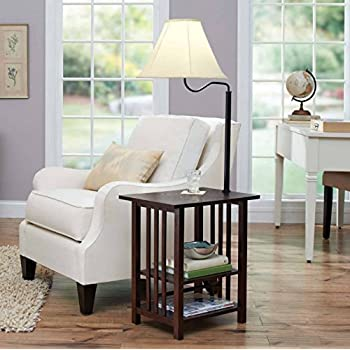 This Item Combination Floor Lamp End Table With Shelves And Swing Arm Shade Use As A Nightstand Or Magazine Rack By Sofa Bed Lamps