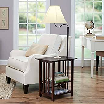 Combination Floor Lamp End Table with Shelves and Swing Arm Shade ...