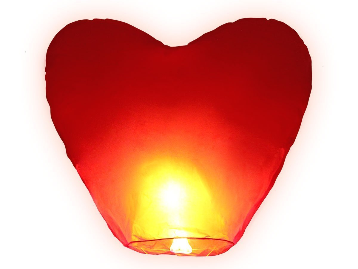 JRing Red Heart Shape Sky Lanterns, Traditional Chinese Flying Glowing Lanterns, Chinese Paper Sky Flying Wishing Outdoors Red Heart Shape Lantern for Birthday Wedding New Year And All Celebrations (1Pack)