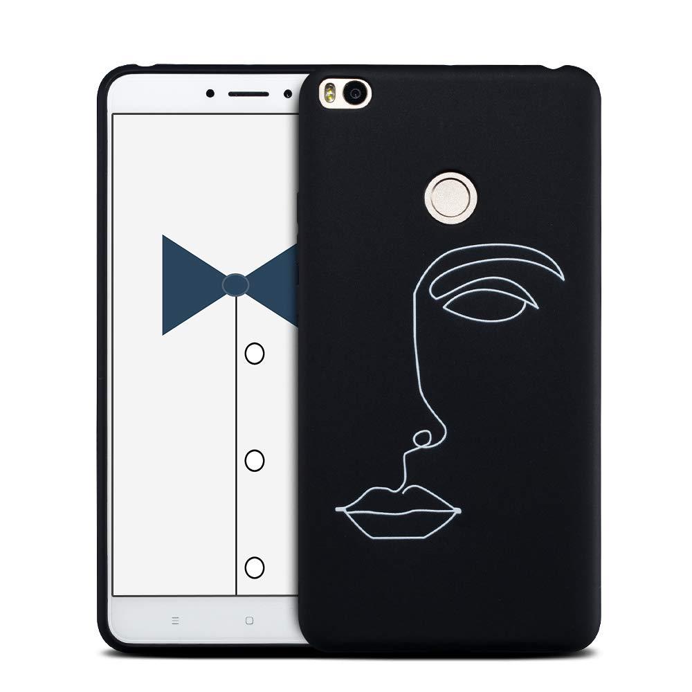 MOSORIS Funda Xiaomi MI MAX 2, Carcasa Pattern Suave Negro Silicona Matte Caso Parachoques Tapa Case Delgado Flexibilidad Protectora Shell Espalda ...