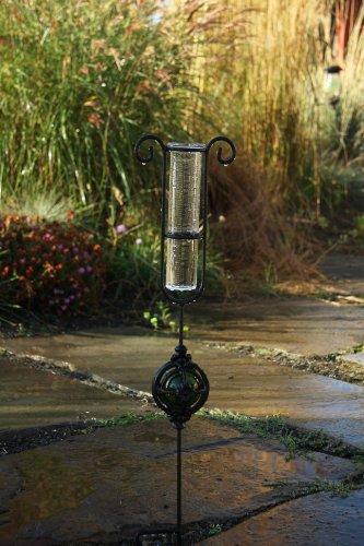 Toland Home Garden Garden Delights - Green Decorative Outdoor Garden StakeRain Gauge Statuewith Glass Udometerfor Yards, Gardens, and Planters 218175