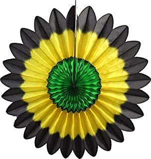product image for Devra Party 6-Pack 18 Inch Tissue Paper Fanburst (Jamaican Colors - Black/Yellow/Green)