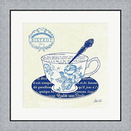 Blue Cups I by Stefania Ferri Framed Art Print Wall Picture, Flat Silver Frame, 24 x 24 inches