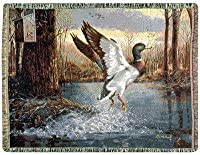 """Jump Start"" Mallard Duck Tapestry Throw Blanket 70"" x 50"""