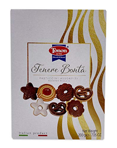 Tonan Assorted Italian Cookies Holiday Gift Box Set   Gourmet Artisanal Cookies   Sugar, Butter, Chocolate, Fruit 200g