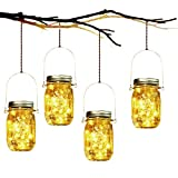 Solar Garden Lights - 4 Pack Solar Mason Jar Lights Garden Hanging Lantern 20 LED Waterproof Solar String Decorative Lights Indoor/Outdoor Lighting for Courtyard Wedding Party Christmas (Warm White)