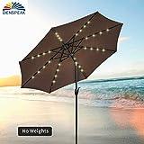 Cheap Dienspeak Deluxe Aluminum Round Patio Umbrella with Solar Powered 32 LED Lights with Tilt & Crank, Coffee