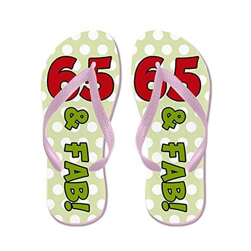 65 ° Compleanno Pois - Infradito, Divertenti Sandali Infradito, Sandali Da Spiaggia Rosa