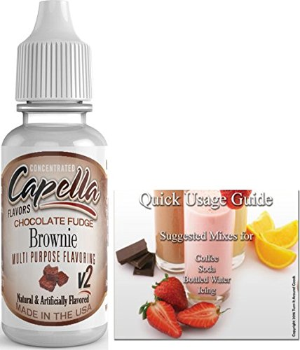 Capella Flavor Drops Concentrated & Quick Start Guide Bundle (Chocolate Fudge Brownie V2, 13ml) (Brownie California Chocolate)