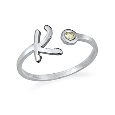 254947f4f Amazon.com: Illango Personalized Silver Initial Open Ring with Birthstone  Tiny Letter Ring Couples jewelry: Jewelry
