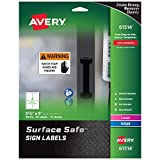 Avery Surface Safe Sign Labels, 3-1/2'' x 5'', Removable Adhesive, Water & Chemical Resistant, Pack of 60 (61514)