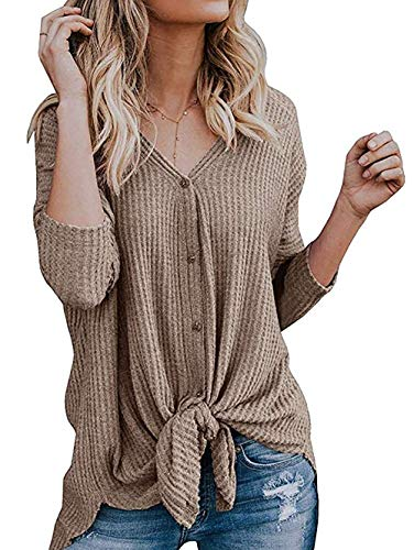 VENAS Womens Waffle Knit Tunic Blouse Tie Knot V Neck Button Down Sweater Henley Tops Loose Fitting Bat Wing Plain Shirts (Khaki, XL)