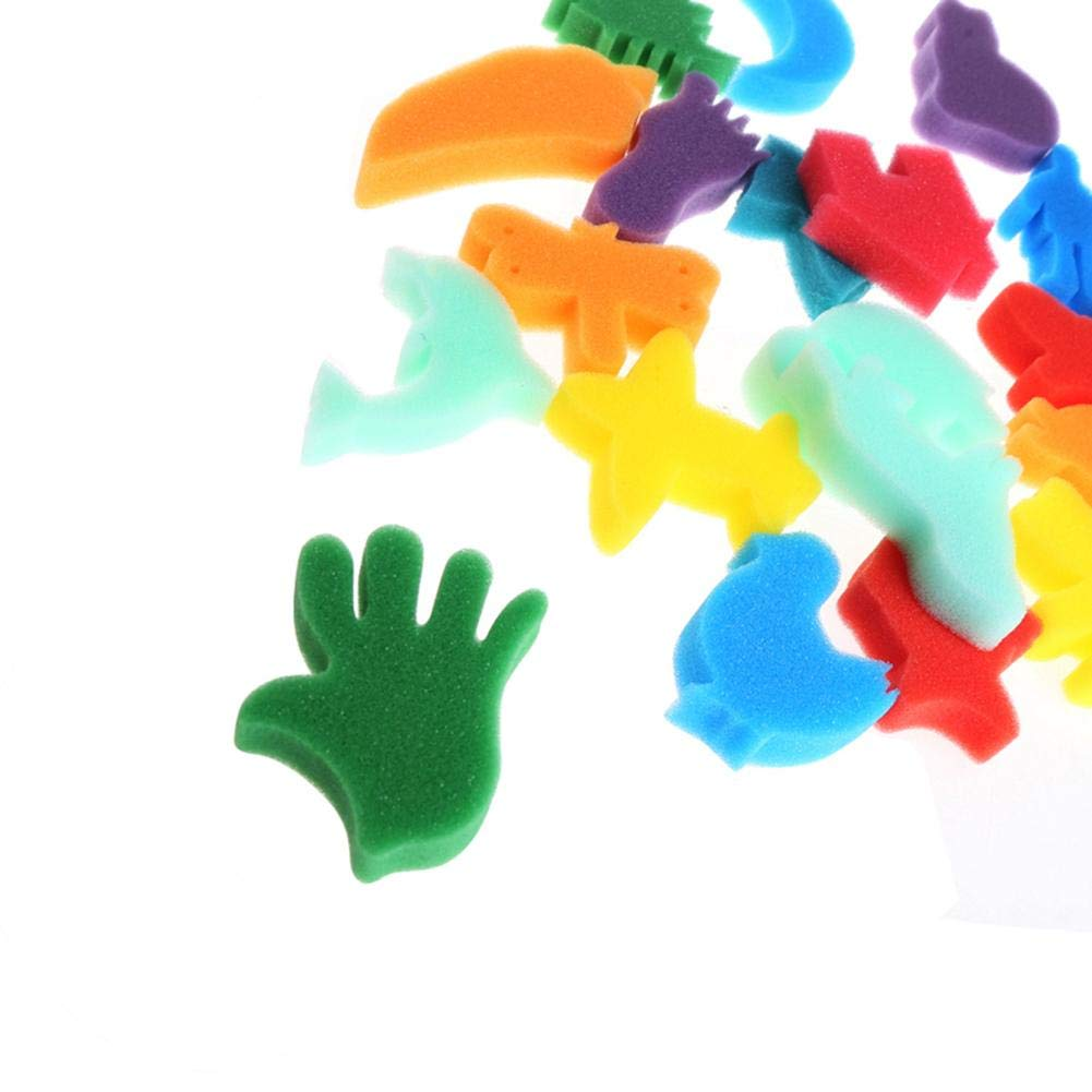 WXLAA Sponge Painting Set Children Kids Finger Paint Kit DIY Art Craft Toy School Education Learning Toy Stamps Foam Set 24Pcs by WXLAA (Image #5)