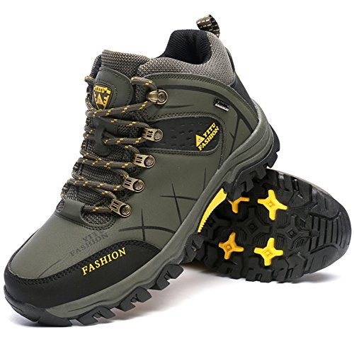Yitu Hombres Mid Hiking Botas Trekking Zapatos Outdoor Sneakers Army