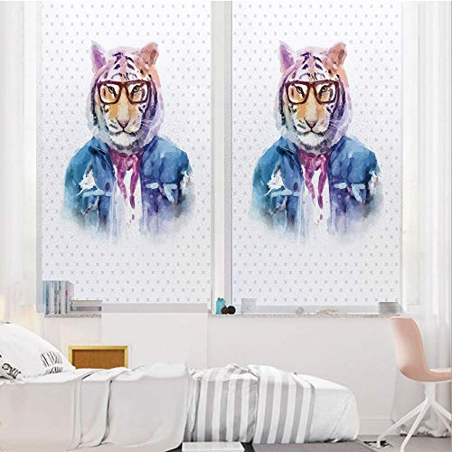 - Quirky Decor 3D No Glue Static Decorative Privacy Window Films, Intellectual Tiger with Scarf Torn Denim Jacket and Glasses Watercolor Artwork Decorative,17.7
