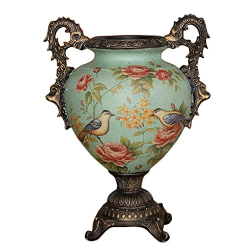 Resin Large Vase,European style Retro Hand Painted Flowers Birds Vase Living Room Bedroom Dining Table Decoration Vase Porch Floor Vase (Size : Large) - Bird Hand Painted Vases