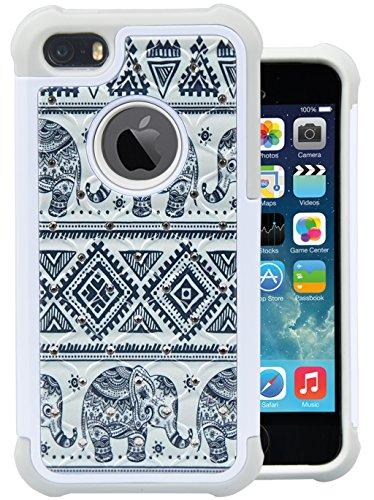 iPhone SE Case, MagicSky [Shock Absorption] Studded Rhinestone - Bling Elephant Iphone Case