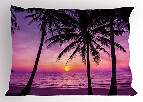 (Ambesonne Ocean Pillow Sham, Palm Trees Silhouette at Sunset Dreamy Dusk Warm Exotic Twilight Scenery Image, Decorative Standard King Size Printed Pillowcase, 36 X 20 inches, Purple Black)