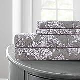 floral queen sheets - Amrapur Overseas   Printed 4-Piece Microfiber Sheet Set (Floral Sketch, Queen)