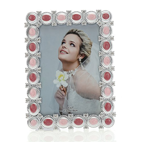 5x7 Fun Enamel and Crystal Decorated Plastic Picture Frame,wedding Center Table Showcase,Horizontal or Vertical Display,with Glass Front (5x7, Pink) ()