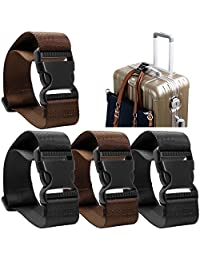 4 pack Add a Bag Luggage Strap, AFUNTA Adjustable Travel Suitcase Belt Attachment Accessories for Connect Your Three Luggage Together - Black/ Brown