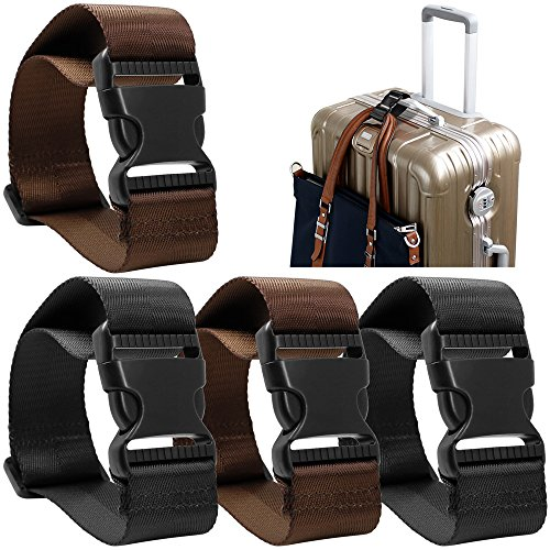 - 4 Pack Add a Bag Luggage Strap, AFUNTA Adjustable Travel Suitcase Belt Attachment Accessories for Connect Your Three Luggage Together - Black/Brown