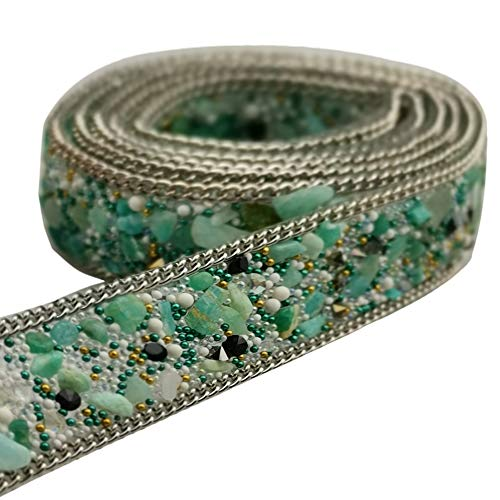 USJee 1 Yard Light Green Rhinestone Trim Crystal Applique Patches for Wedding Sash Beaded Bridal Belt DIY Sewing ()