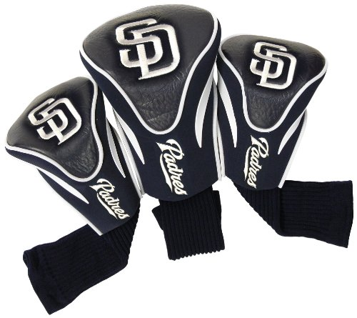 Team Golf MLB San Diego Padres Contour Golf Club Headcovers (3 Count), Numbered 1, 3, & X, Fits Oversized Drivers, Utility, Rescue & Fairway Clubs, Velour lined for Extra Club Protection