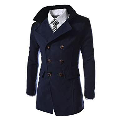 ♚Btruely Herren Invierno Casual Chaquetas Bolsillos cálido Invierno Trinchera Largo Outwear botón Elegante Abrigo: Amazon.es: Ropa y accesorios