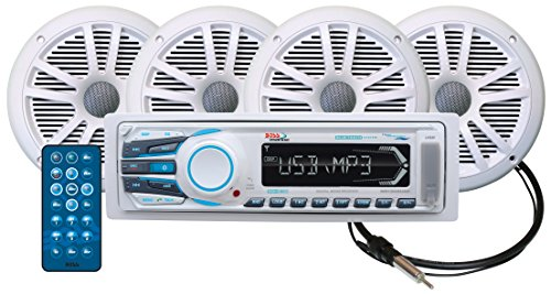 BOSS Audio MCK1308WB.64 Receiver/Speaker Package, Bluetooth, MP3/USB/SD AM/FM Marine Stereo, Detachable Front Panel, Wireless Remote (No CD/DVD), Four 6.5 Inch Speakers, Antenna