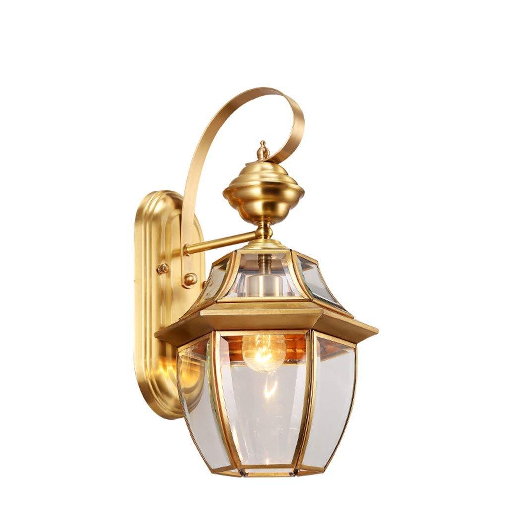 Lampada da parete per illuminazione di esterni luci da giardino impermeabile Lampada da parete balcone Lampada da parete a tutti il rame Lampada da parete retrò Lampada da parete a luce este