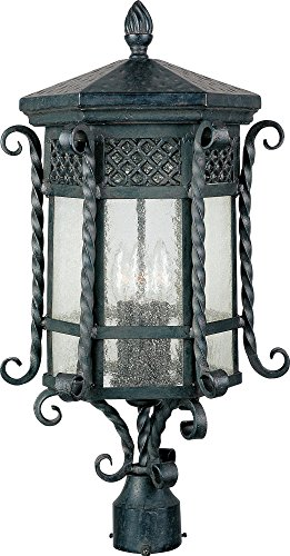 Maxim 30120CDCF Scottsdale 3-Light Outdoor Pole/Post Lantern, Country Forge Finish, Seedy Glass, CA Incandescent Incandescent Bulb , 60W Max., Dry Safety Rating, Standard Dimmable, Fiber Fabric Shade Material, 650 Rated Lumens
