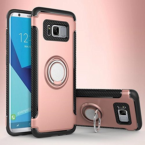 Galaxy S7 Edge Magnetic Car Phone Stand Case,Inspirationc 2 in 1 Shockproof 360 Degree Rotating Ring Stand with Rubber Case for Samsung Galaxy S7 Edge--Rose Gold