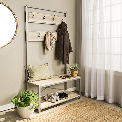 Manor Park White Oak Hall Tree with Shoe Bench and Coat Hooks