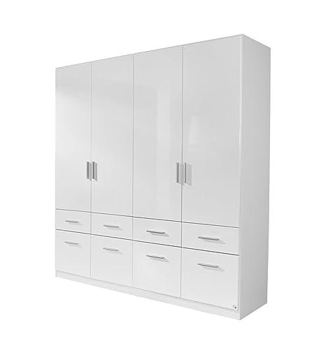 Kleiderschrank weiß hochglanz  Rauch Kleiderschrank Weiß Hochglanz 4-türig mit 8 Schubladen ...