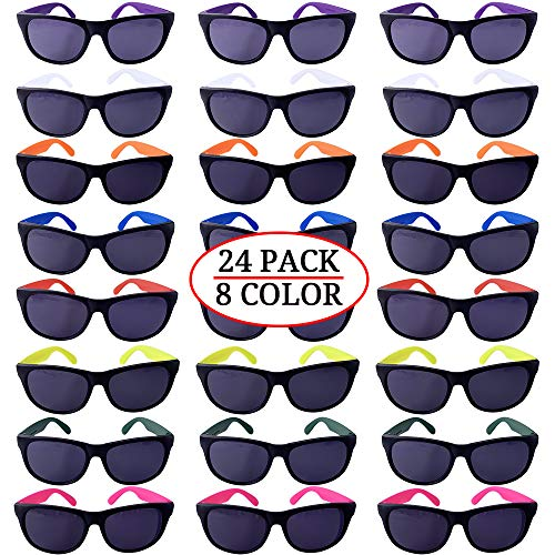Neon Party Sunglasses, 24 Pack 8 Colors, With Dark Lens for Fun Gift, Bulk Pool Party Favors, Beach Party Favors, Party Toys for Girls Boys Teens adults]()