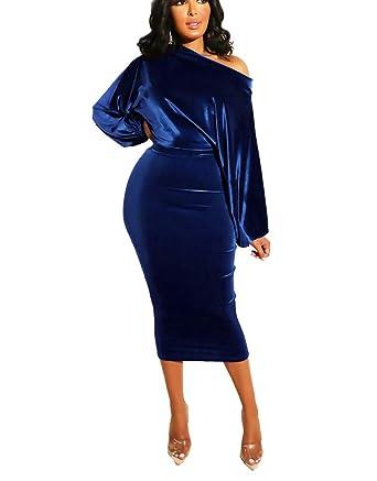 84620246d254 Ophestin Womens Bodycon Velvet Dresses Off Shoulder Long Sleeve Velour  Sheath Club Dress Skirts Dark Blue