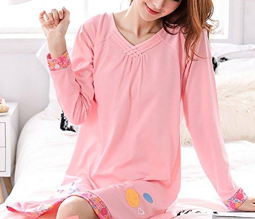 Sciolto Camicie Girocollo Stampa Forti Notte Base Taglie Woman Abito Manica Comfort Giovane Di Elegante Pigiami Pigiama Da Lunga Ragazze Cute Homewear Pink Casuali Modello 2 Autunno Donna Primaverile Yq1xZwwf