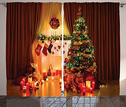 ambesonne christmas curtain decor christmas decorations for window by christmas tree stockings candles gift boxes - American Sales Christmas Decorations