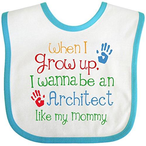 Inktastic Baby Boys' Architect Like Mommy Baby Bib One Size White/Turquoise